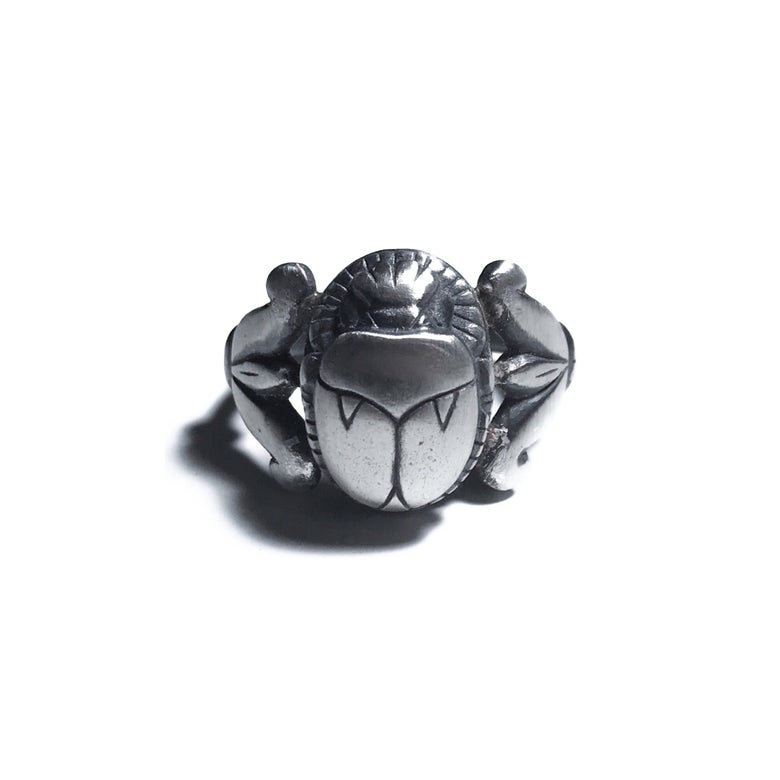 Image of Scarab ring in sterling silver or 14k gold