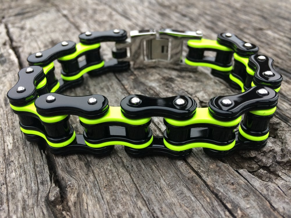 Image of Black and Neon Yellow Stainless Steel Chain Bracelet