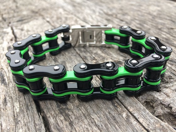 Image of Neon Green Stainless Steel Chain Bracelet