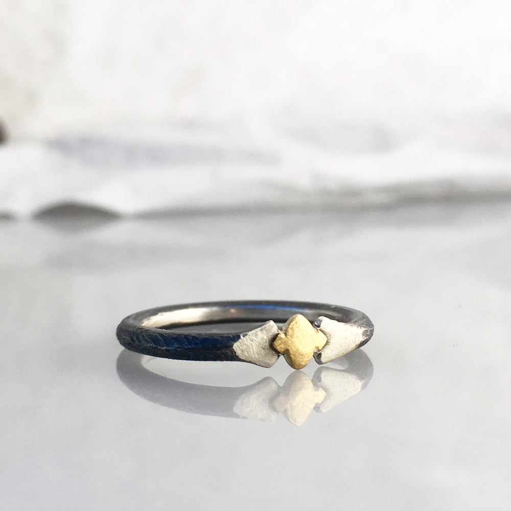 Image of SALE!! 18k gold and oxidized sterling ring