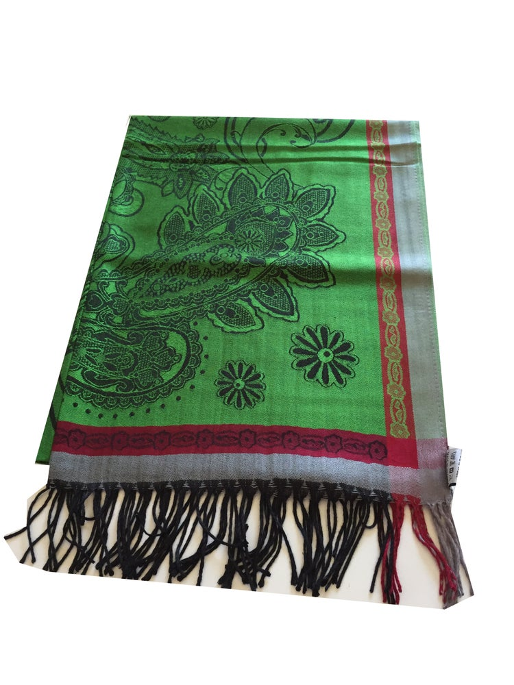 Image of Emerald Green, Red and Grey Pattern High Quality Pashmina (SVN40)