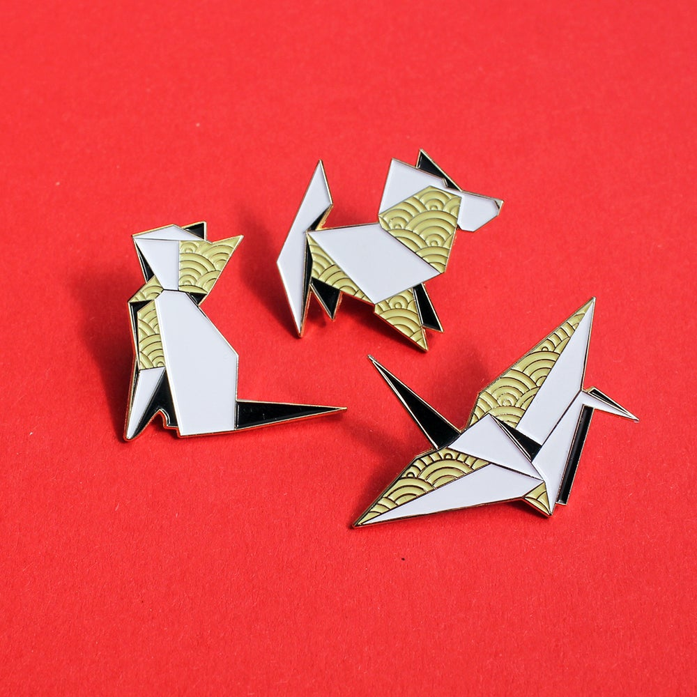 Image of Origami Crane, Dog & Cat enamel pins - 'Origaminals' lapel pins - set of THREE pins