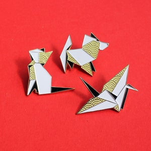 Image of Origami Crane, Dog & Cat enamel pins - 'Origaminals' lapel pins - set of THREE pins