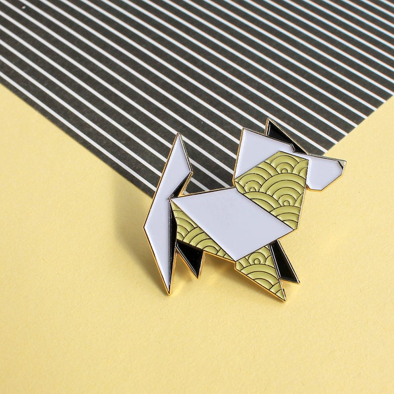 Image of Origami Dog, enamel pin - 'Origaminals' - lapel pin