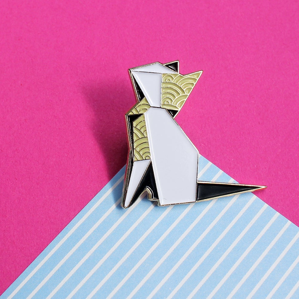 Image of Origami Cat, enamel pin - 'Origaminals' - lapel pin