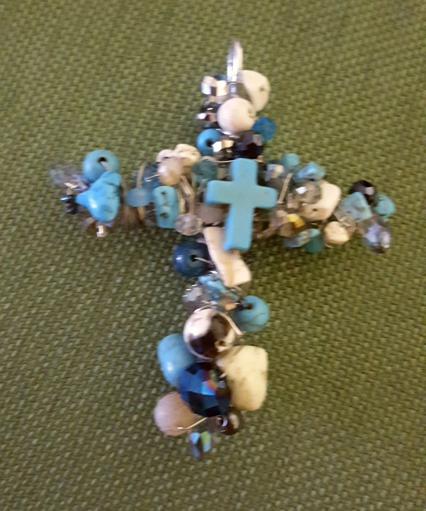 Image of Turquoise Colored Magnasite, Crystal and Multi bead Pendant