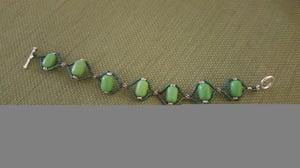 Image of Green Magnasite Cross Woven Bracelet