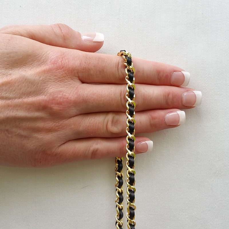Image of Extra Petite GOLD Chain Strap with Leather Weave - Mini Classy Curb Diamond Cut - Choose Option