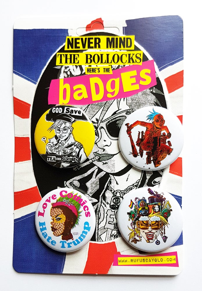 Image of Rufus Dayglo Badge Pack Two