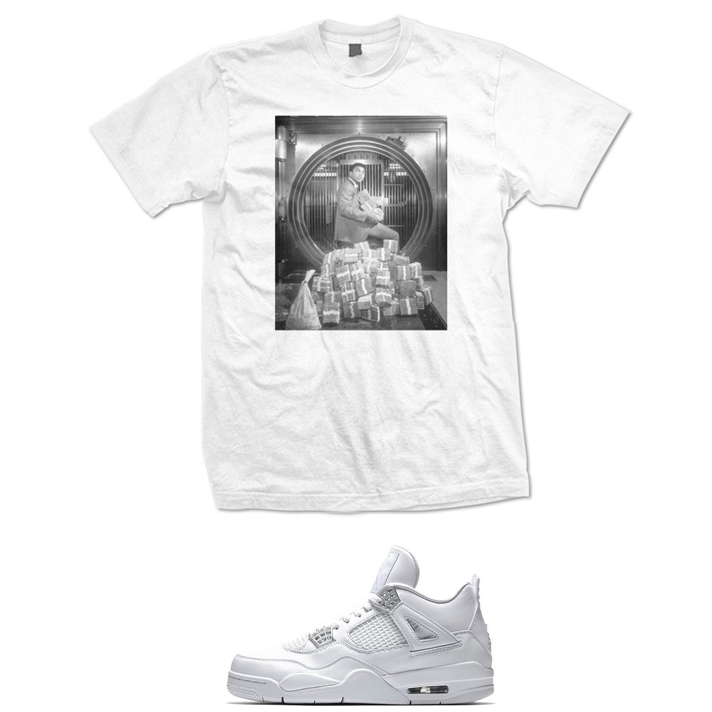 Image of Muhammad Ali Bag Secured Retro 4 Pure Money T-Shirt - White