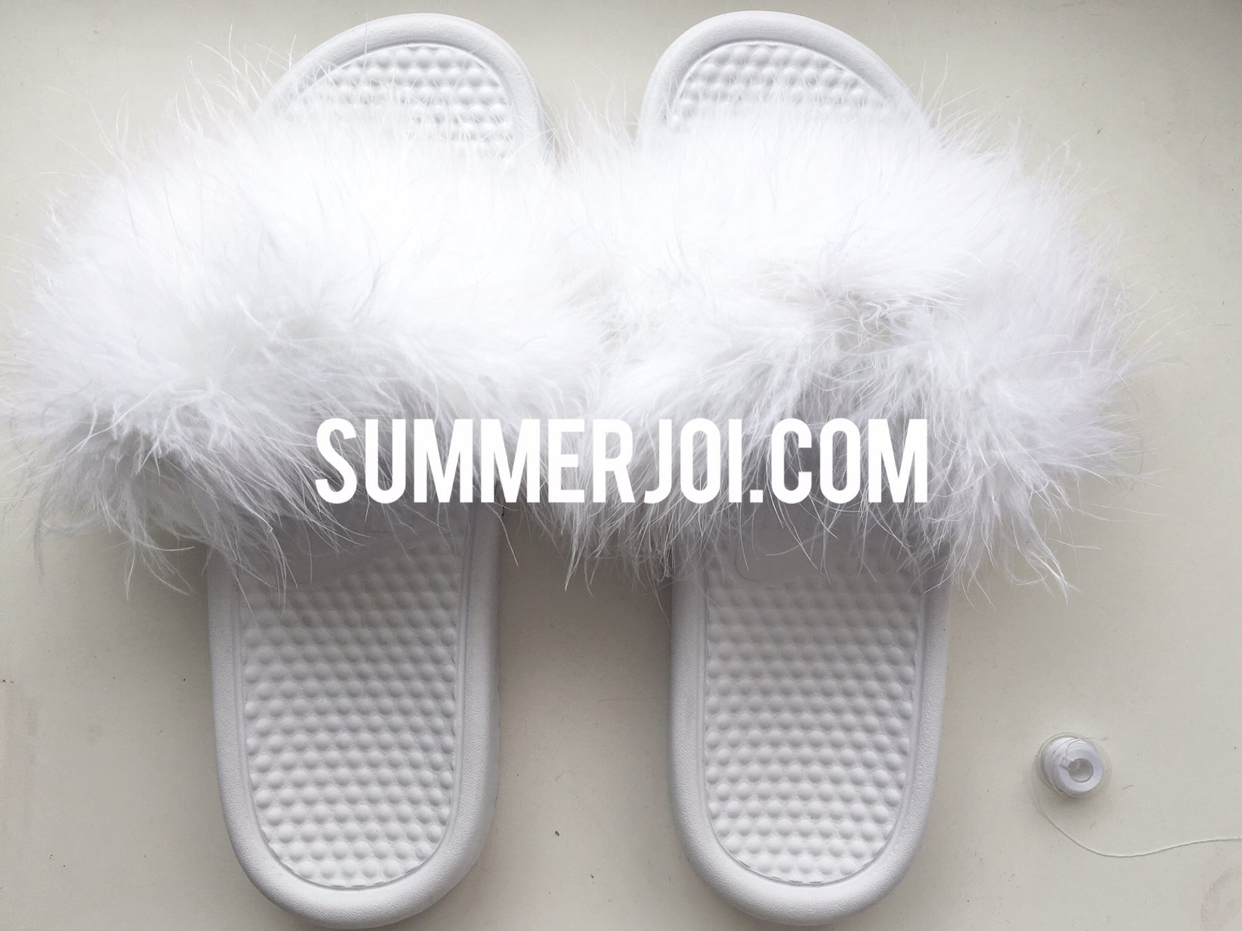 2051bbc317871 Image of All White Everything Faux Fur Nike Slides by Summer Joi ...