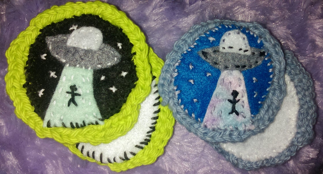 Image of UFO Abduction Crochet Patch or Pin