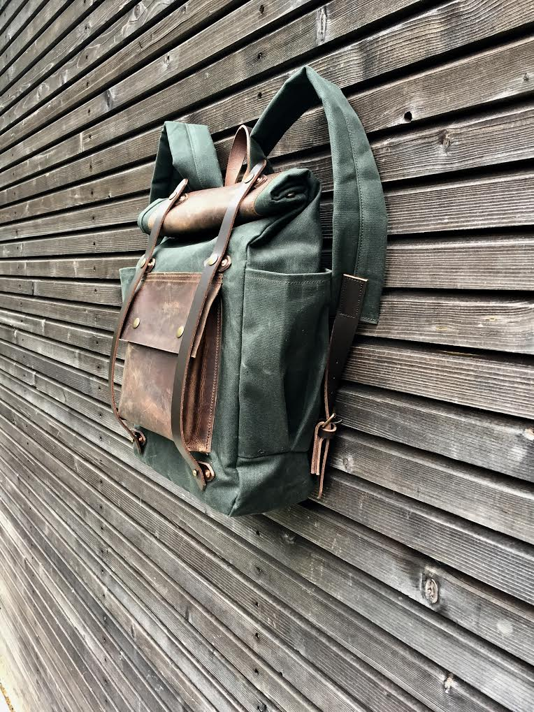 Image of Wax Canvas Backpack medium size / Hipster Backpack with roll up top and double bottle pocket