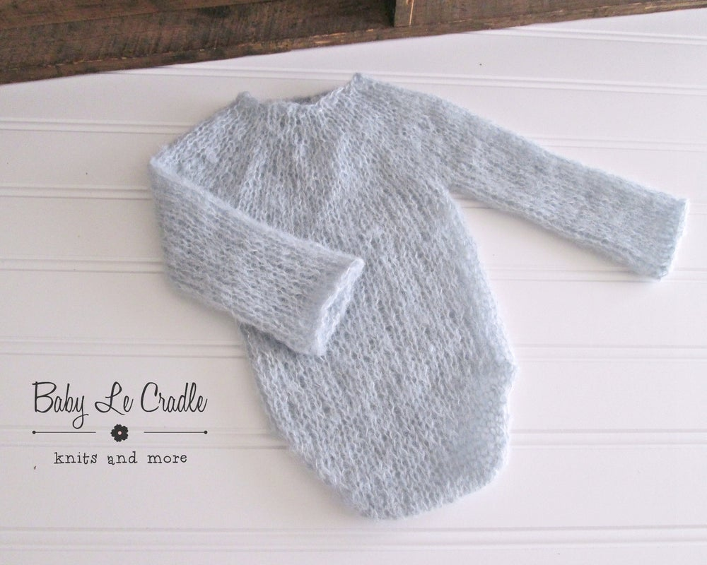 Image of Newborn Knit Romper Long Sleeved, Brushed Alpaca, Photography Prop