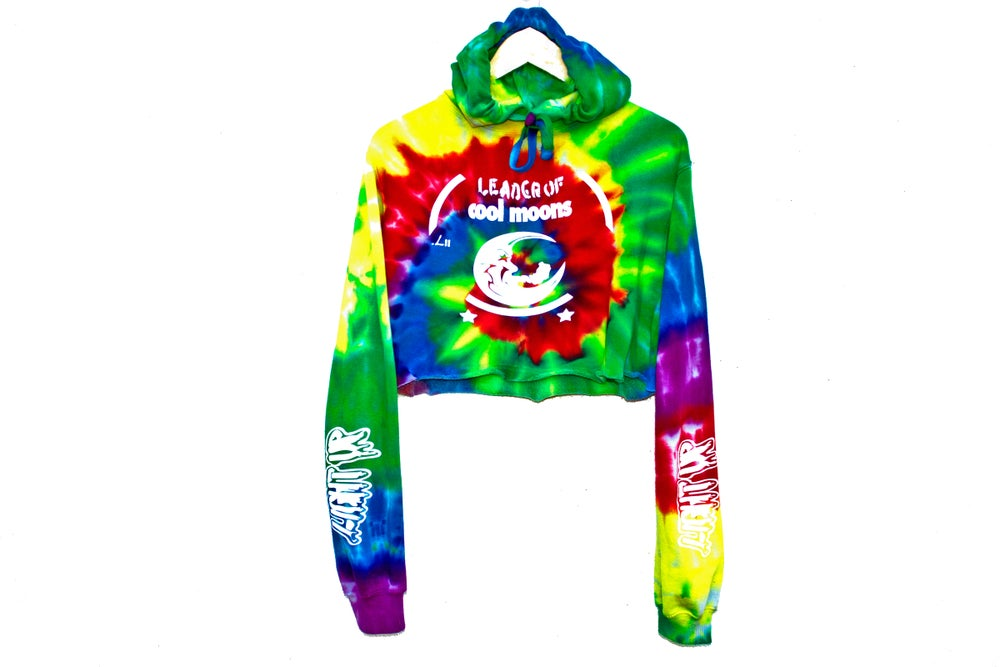 "Image of ""Light Up"" tie-dye crop hoodie"