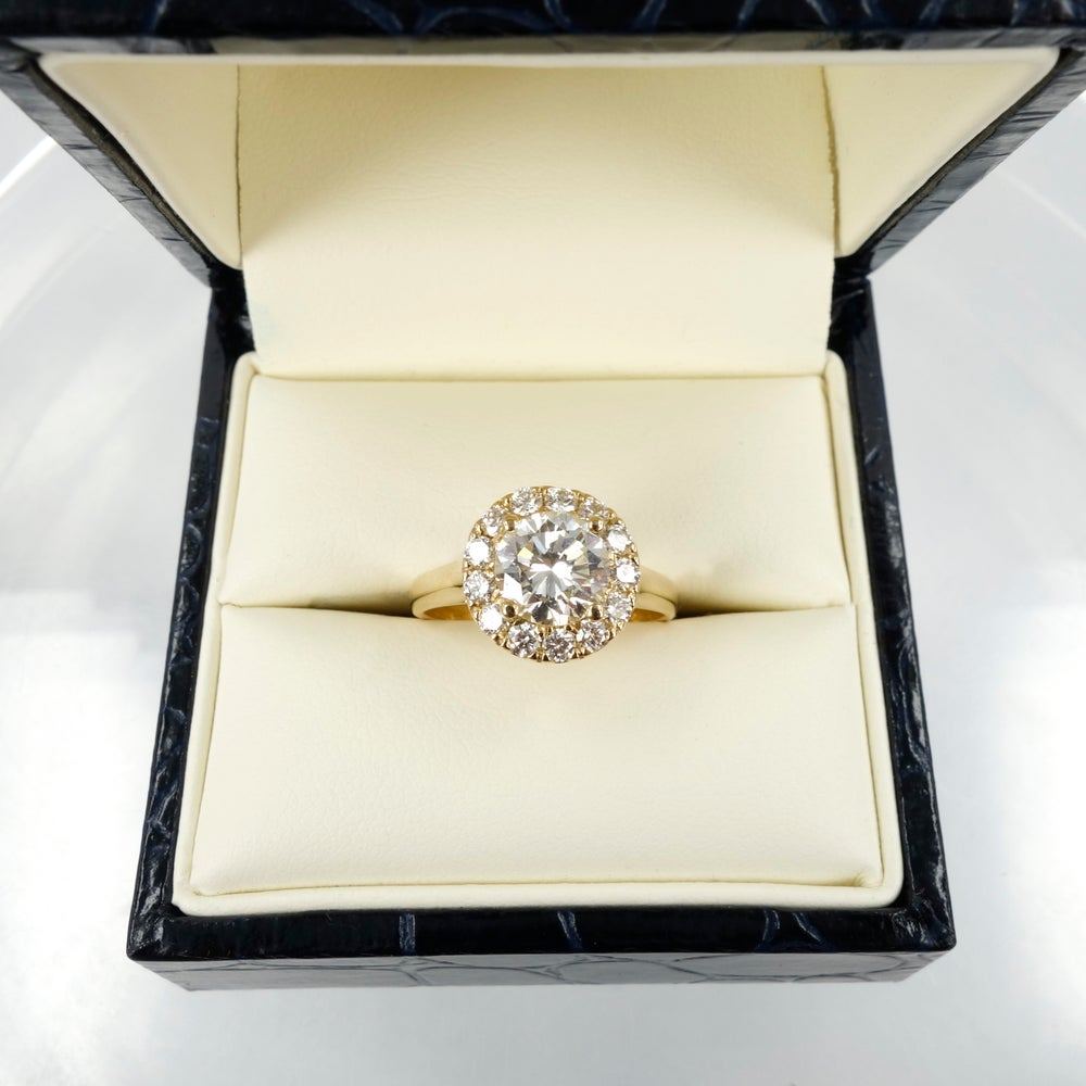 Image of Yellow Gold Halo Engagement Ring