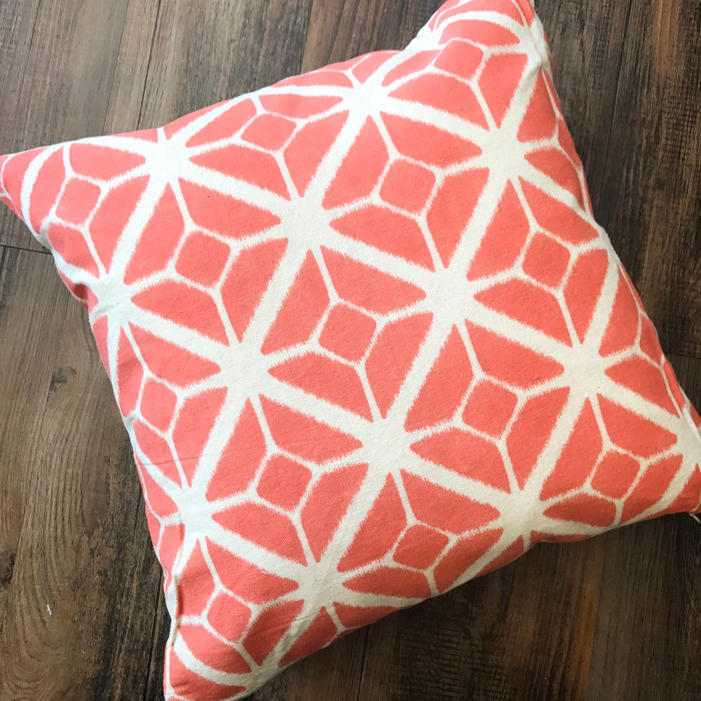 Image of Geometric Mono Print Cushion in Coral Orange 45x45cm