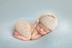 Image of Newborn Sleeper Hat and Shorts SET, Brushed Alpaca