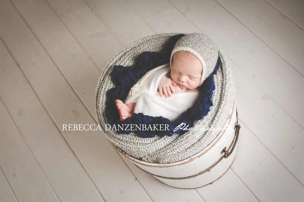 Image of Eco Gray Bonnet, Knit Bonnet, Photo Prop - Marl Twist
