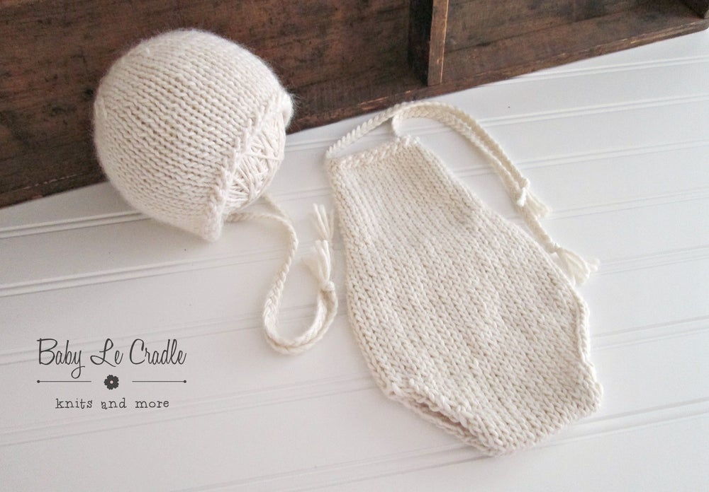Image of Newborn Overalls Bonnet Set, Suri - Baby Romper | Knit Newborn | Newborn Props