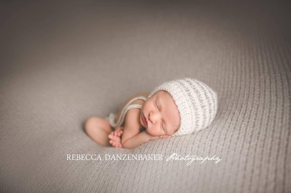 Image of Eco Baby Bonnet - Photo Prop - Marl - Stripes Undyed Alpaca