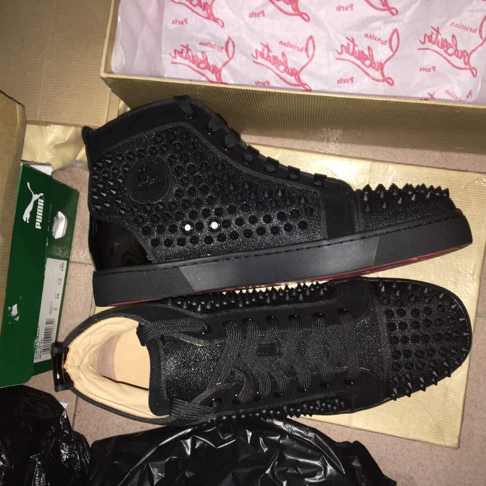 pretty nice 46011 ecfbd Christian Louboutin Louis Moire Studded High Top Men's Red Bottom Sneakers