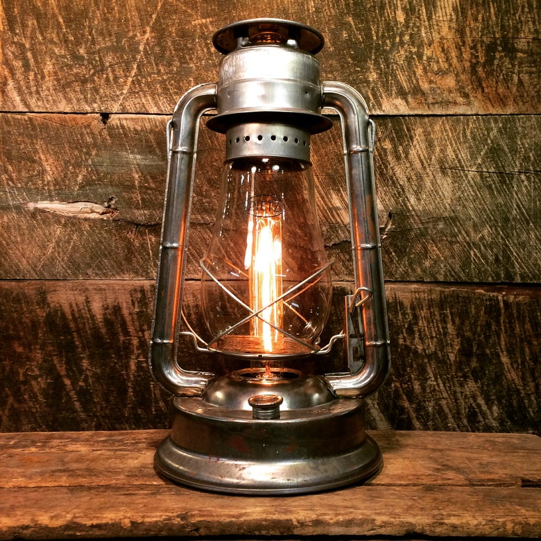 Image of Electrified Dietz Kerosene Lantern in Raw Steel