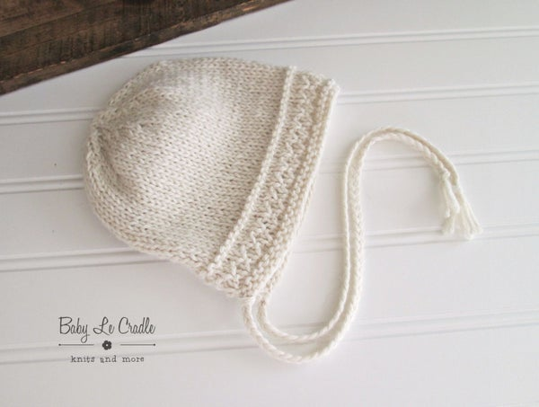 Image of Sitter Eco Regal Bonnet, Eco Alpaca, Photo Prop - Undyed Alpaca