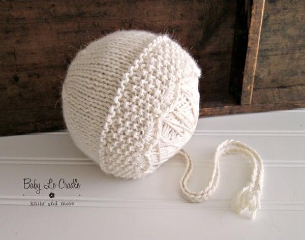 Image of Newborn Regina Bonnet - Eco | Girl Bonnet - Knit | Props, Undyed Alpaca