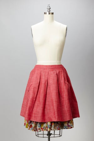 Image of Peru Skirt - Heather Red Chambray