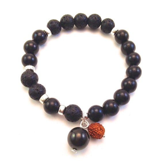 Image of Shungite and Lava Blessed Infinity Wrist Mala