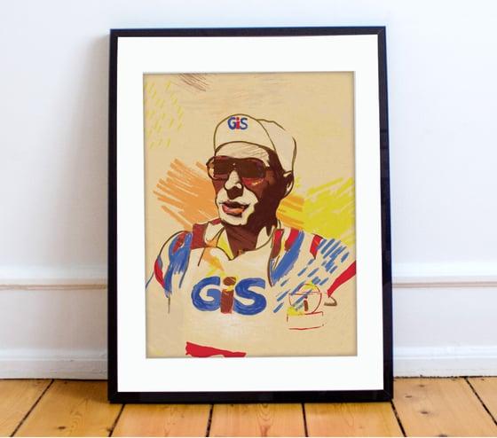 Image of Francesco Moser print A4 - By Matthew Burton