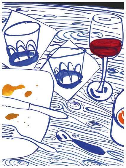 Image of Wine and water. Print
