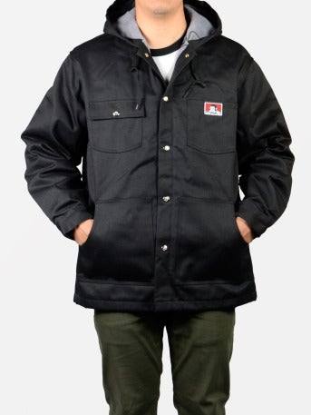 Image of Ben Davis Hooded Jacket, Black – Front Snap