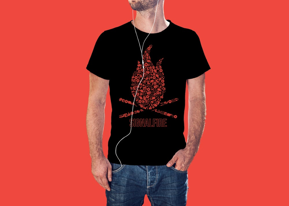 Image of Signalfire Tee #002 (Red on Black)