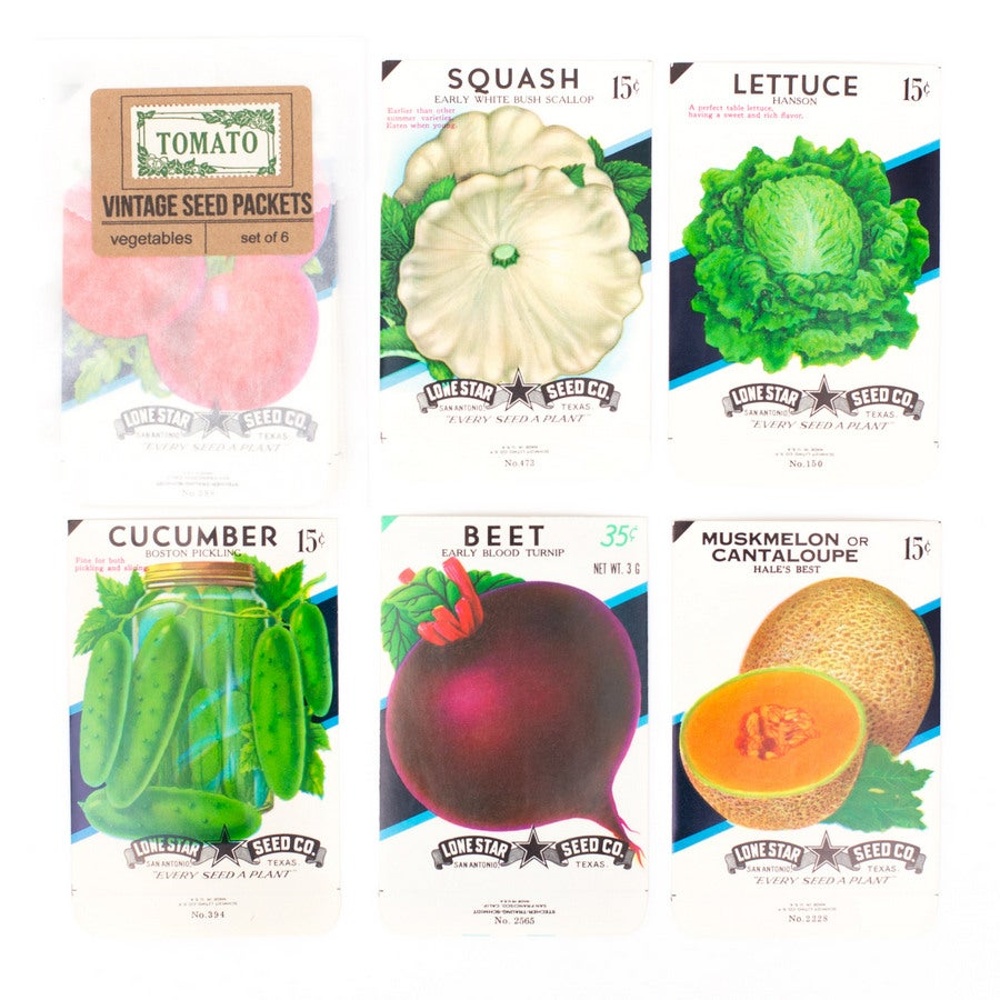 Image of Vintage Vegetable Seed Packets, No. 1 - Set of 6