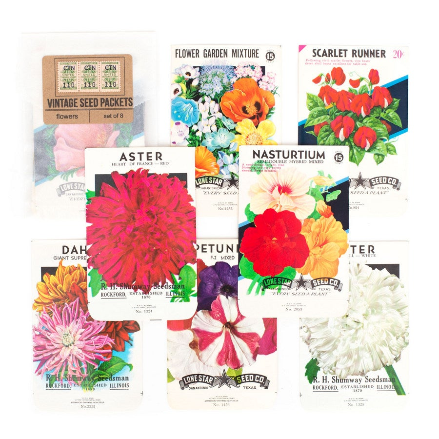 Image of Vintage Flower Seed Packets, No.1 - Set of 8