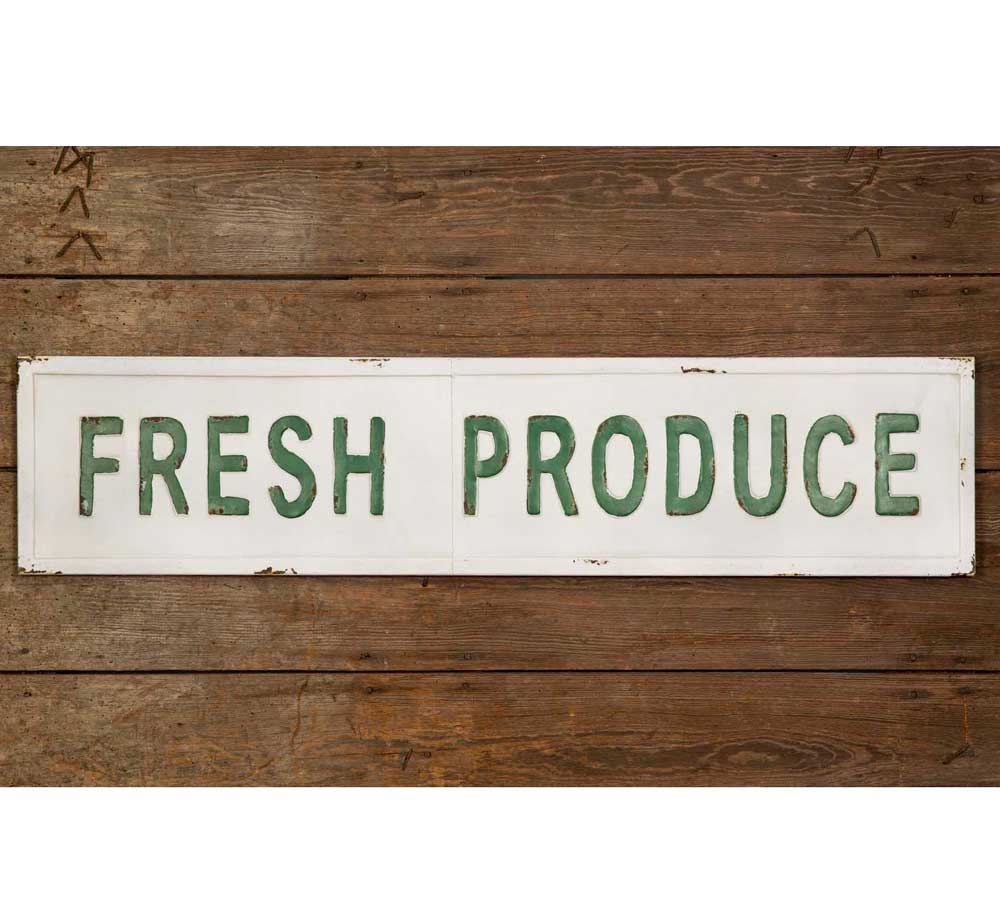 Image of Vintage Metal Produce Sign