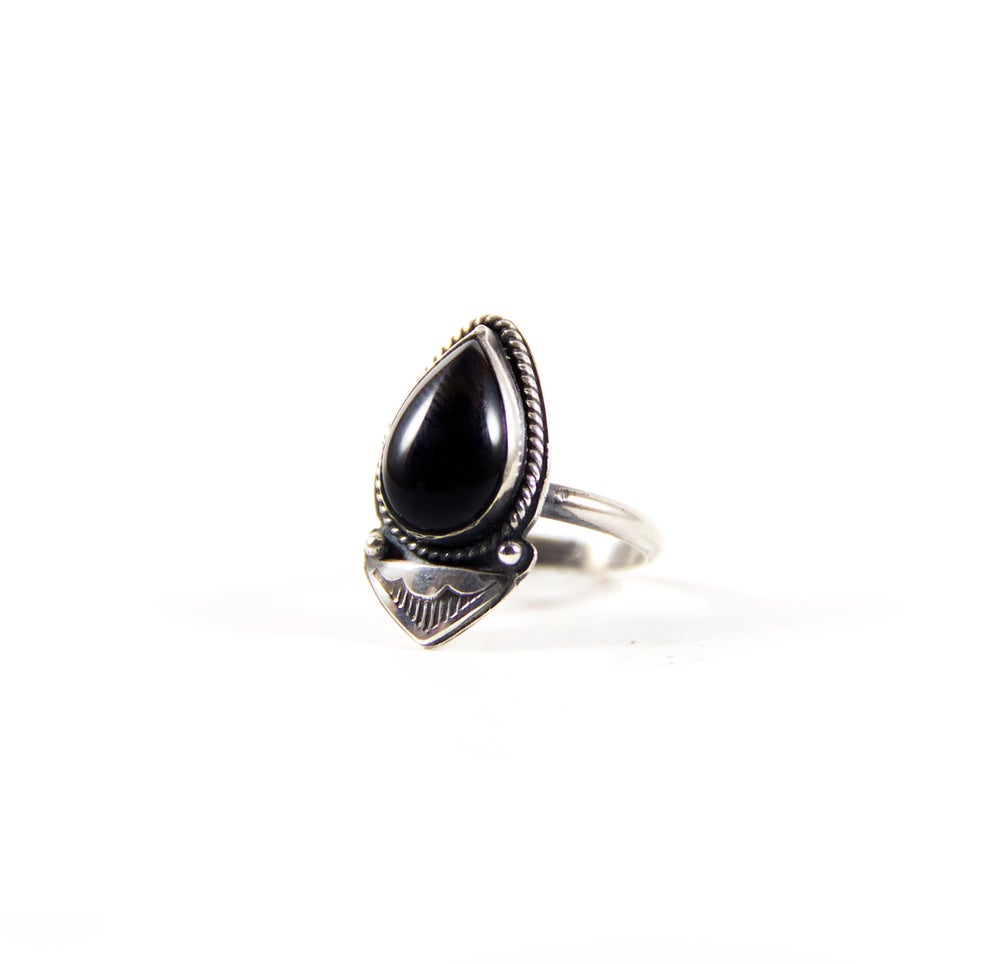 Image of Onyx Tear Drop Sterling Silver Ring with Hand stamped Detailing