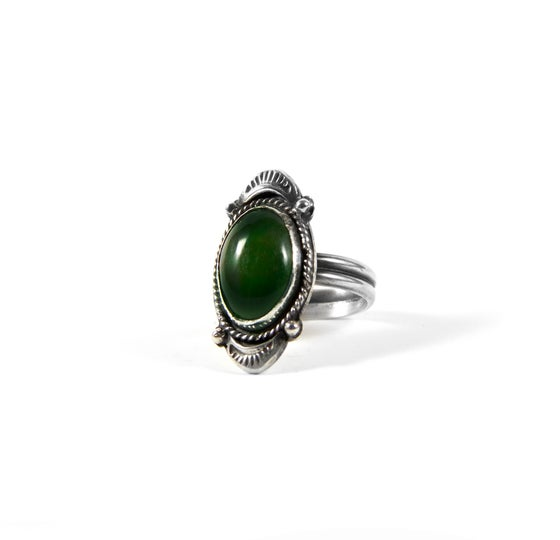 Image of Jade Oval Ring Set in Sterling Silver Size 7