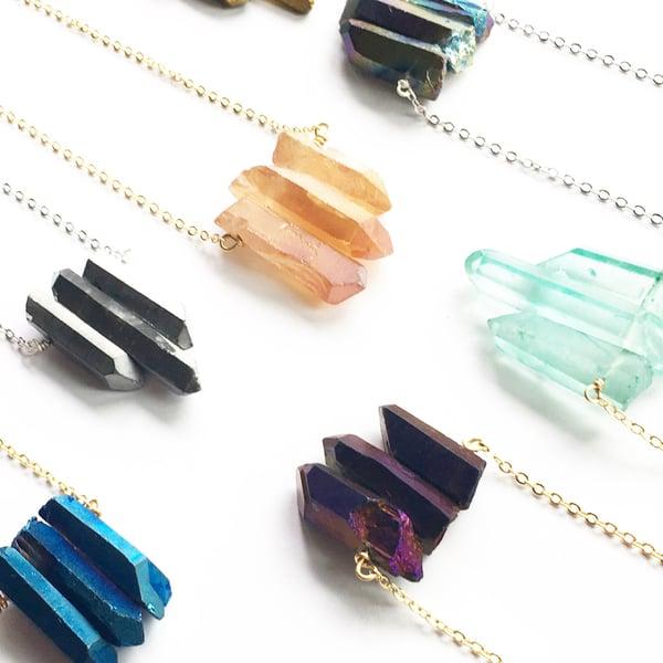 Image of Trio Necklaces - Aura Quartz Crystal