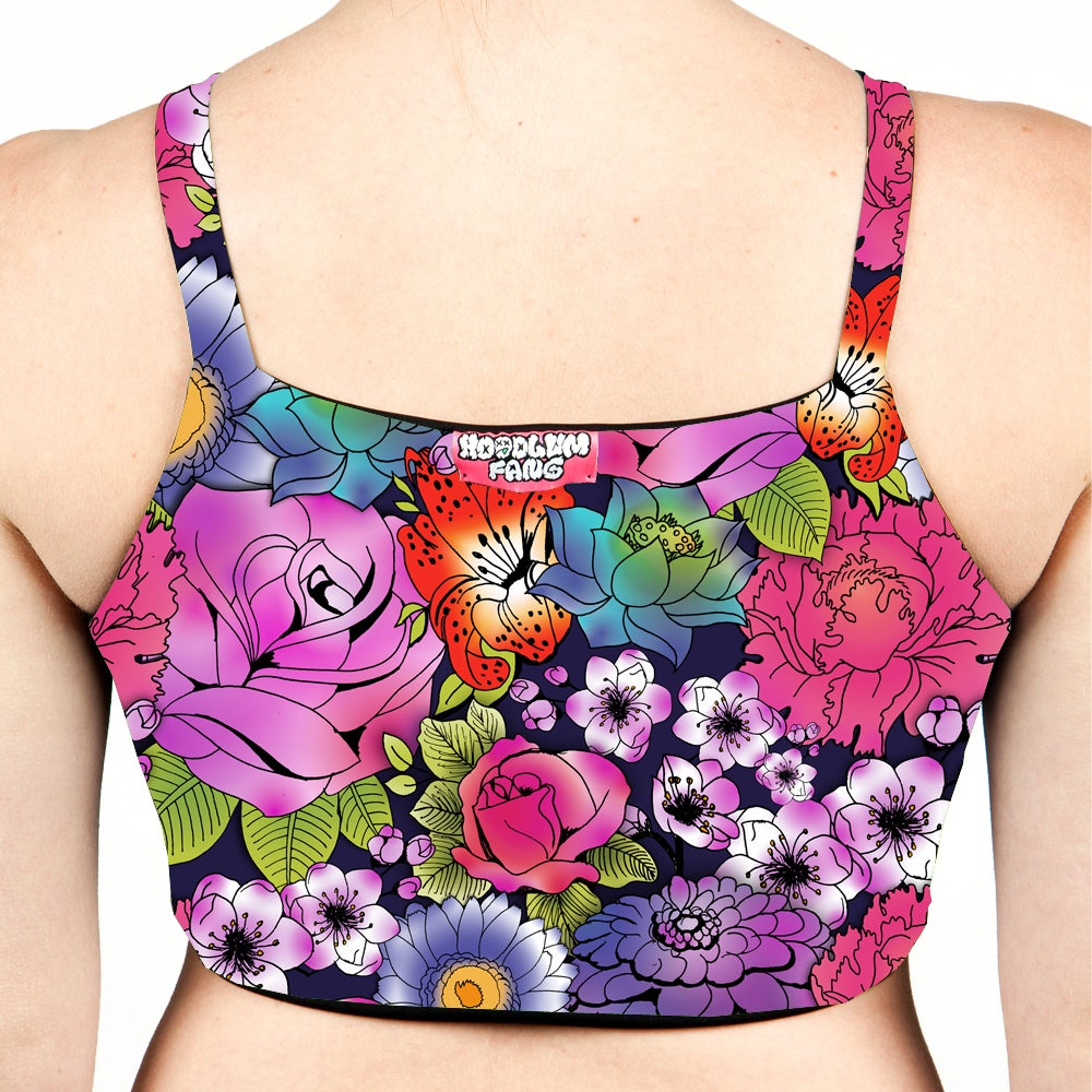 Image of Tattoo Floral High Neck Bralet Crop Top