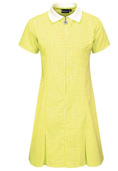 Image of Zip-Fronted Corded Gingham Dress