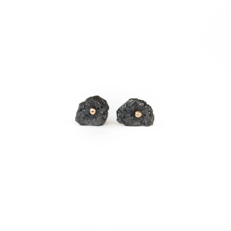 Image of Raw Black Diamond Studs
