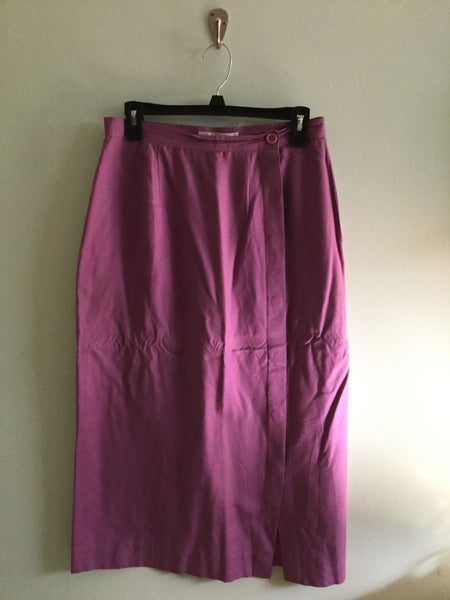 Image of silk purple pencil skirt