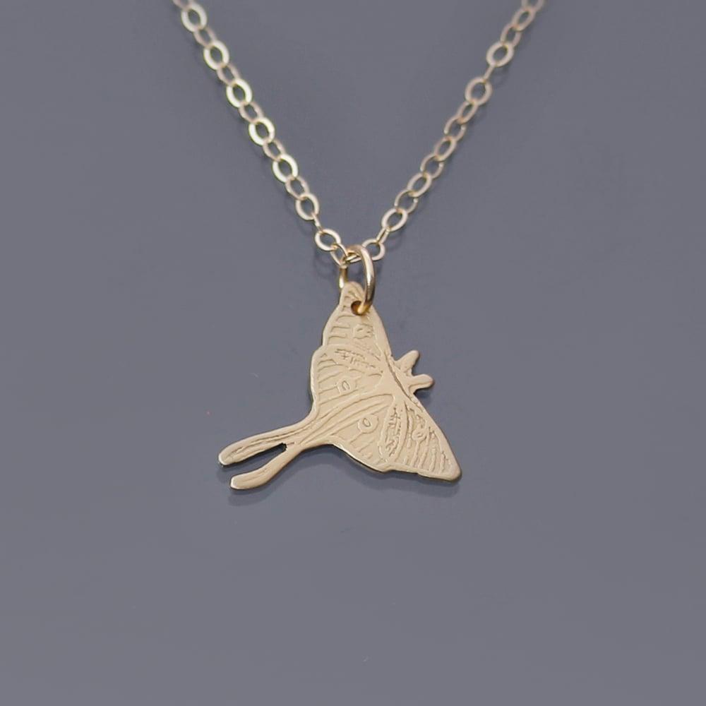 Image of 14k Gold Luna Moth Necklace