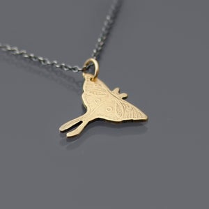 Image of 14k Gold and Sterling Silver Luna Moth Necklace