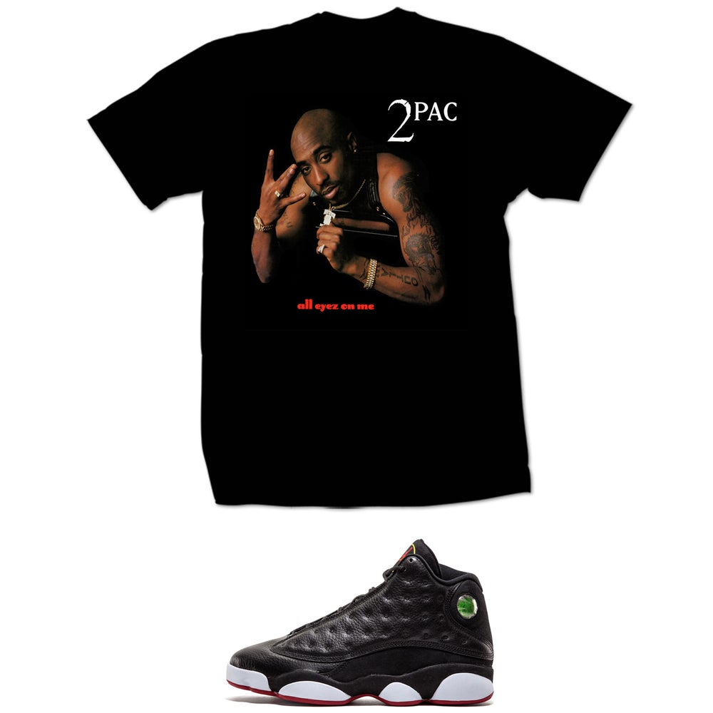 Image of 2PAC ALL EYES ON ME RETRO 13 PLAYOFF T SHIRT - BLACK