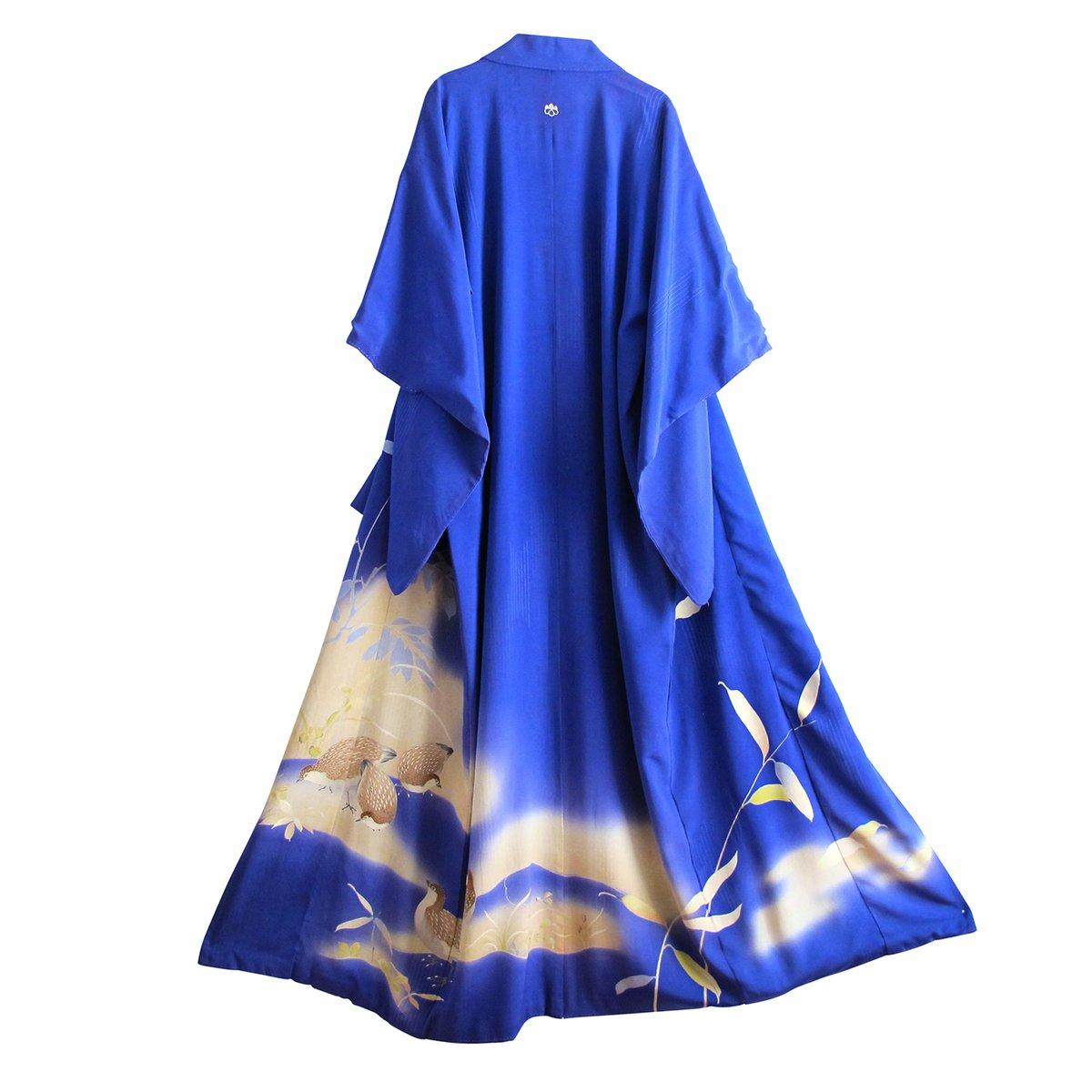 Image of blå silke kimono med blade og fugle og brokader