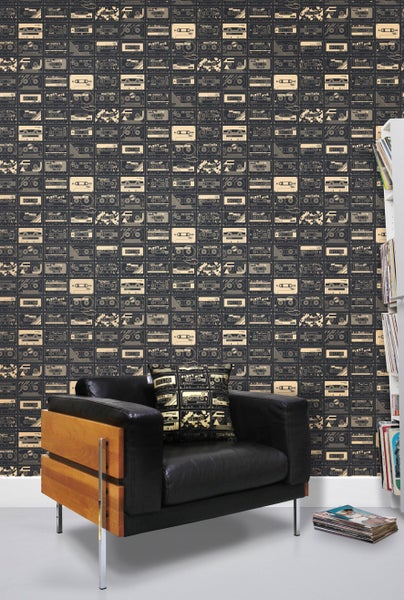 Image of C-60 Wallpaper - Chalkboard and Gold